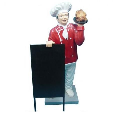 Kucharz z kurczakiem 137 cm - figura reklamowa