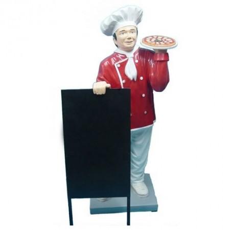 Kucharz z pizzą 140 cm - figura reklamowa