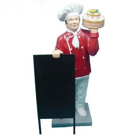 Kucharz z tortem 137 cm - figura reklamowa