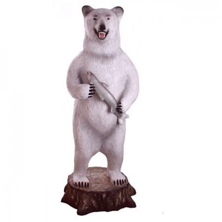 Niedźwiedź , grizzly z rybą 160 cm - figura reklamowa