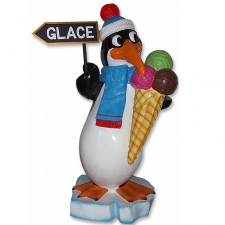 Pingwin z lodem 150 cm - figura dekoracyjna